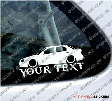 2x Lowered Suzuki Baleno / Esteem Sedan (1998-2002) CUSTOM TEXT car silhouette stickers